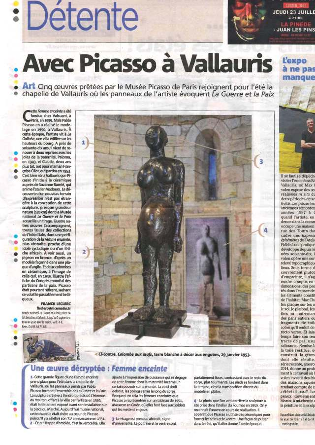 NICE MATIN Article Picasso Vallauris 10 juin 2015_0001